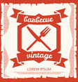 barbecue party vintage poster design with emblem vector image vector image