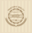 beer barrel and wheat single colored label vector image vector image