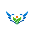 bio ecology green leaf people wing logo vector image