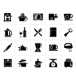Black Kitchenware objects and equipment icons vector image