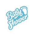 blue baby foot baby shower invite greeting card vector image vector image
