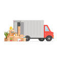 box delivery truck cartoon vector image