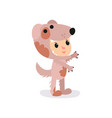 boy or girl character in adorable brown puppy vector image vector image