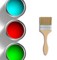 buckets of paint and paint brush vector image vector image