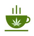 cannabis herbal tea and marijuana leaves vector image vector image