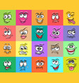 cartoon doodle face expressions set vector image
