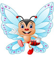 cartoon funny butterfly waving hand vector image vector image