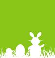Cartoon green background with Easter rabbit and vector image vector image