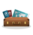 cartoon suitcase with passport and map isolated vector image