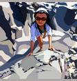 cartoon woman in sunglasses climbing mountains vector image vector image