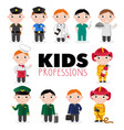 children characters in professional uniform vector image