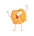 cute pretzel character cartoon funny dessert vector image vector image