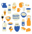 dairy products set milk cheese butter sour vector image