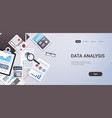 data analysis concept workplace desk with office vector image vector image