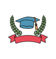 emblem with graduation hat icon vector image vector image