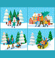 families spend time actively wintertime holidays vector image
