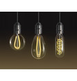 filament bulbs set glowing retro edison lamps vector image