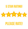 Five Star isolated on white background Rating vector image vector image