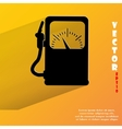Gas fuel station Flat modern web button with long vector image vector image