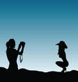 girls silhouette in nature make photography vector image