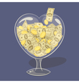 Glass money heart vector image
