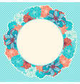 greeting card with wreath hand-drawn flowers vector image