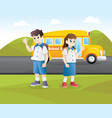 happy student go to school vector image