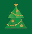 layered cut out paper christmas card with glitter vector image