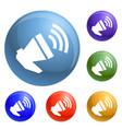 loud megaphone icons set vector image