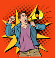 male protester with megaphone vector image vector image