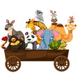 many kinds of animals in wooden wagon vector image vector image