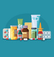medicine pills capsules and glass meds bottles vector image vector image