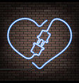 neon heart on a brick wall vector image vector image