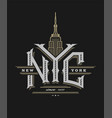 new york city logo emblem vintage style on a vector image vector image