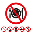no food sign on white background vector image vector image