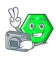 photographer octagon mascot cartoon style vector image vector image