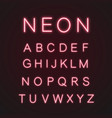 pink alphabet neon light icons set vector image