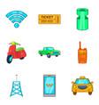 public transit icons set cartoon style vector image vector image