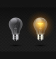 realistic light bulb glowing yellow and white vector image vector image