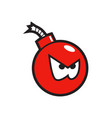 red angry bomb sticker vector image