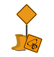 road signs and construction boots vector image vector image