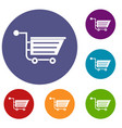 sale shopping cart icons set vector image vector image