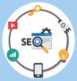 Search engine optimization advice and tools vector image