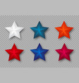 set of 3d stars in colors of usa vector image