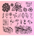 Set of black doodle flowers vector image vector image