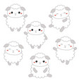 set of cute sheep set of cute sheep vector image