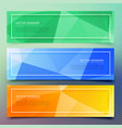 set of three geometric colorful banners vector image vector image