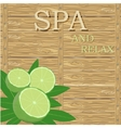 spa leaves and lime on wood surface vector image vector image