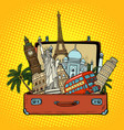 suitcase with world landmarkstourism and travel vector image