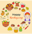 thanksgiving icon arrange as circle shape and vector image